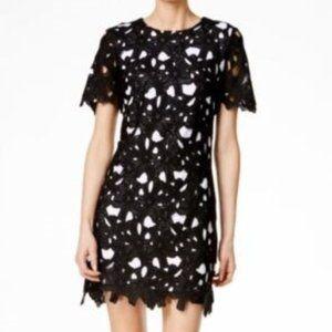 Calvin Klein black &white floral lace shift dress
